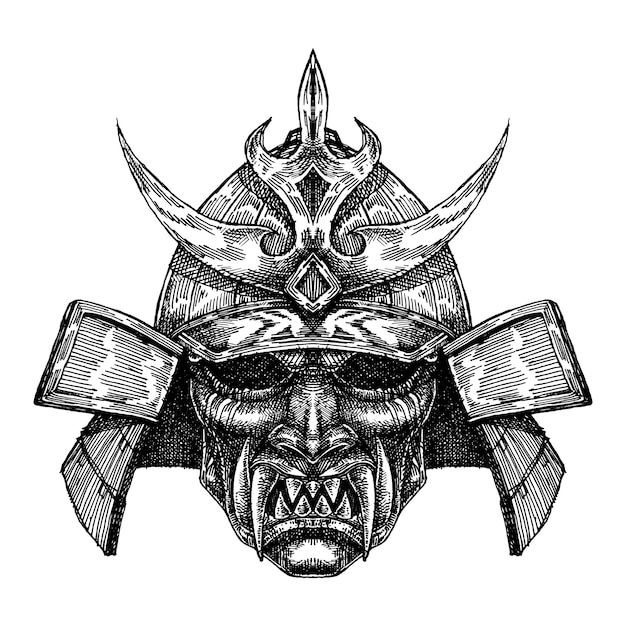 Scary samurai helm mask Vector | Premium Download