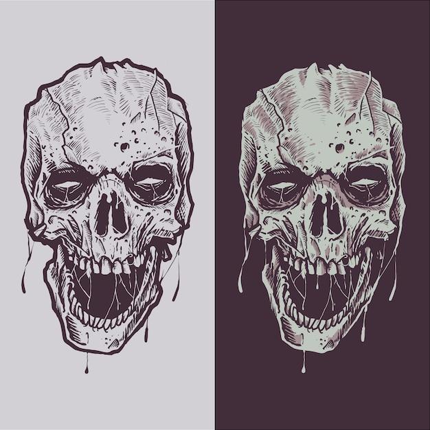 Scary skull handmade illustration sketch Premium Vector