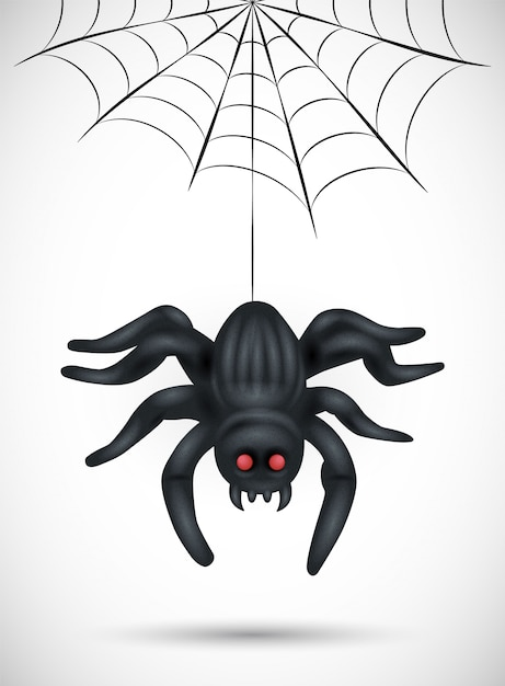 Scary spider  on white background. suitable for halloween   background, poster, banner and flyer Premium Vector