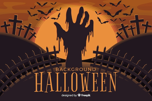 Scary zombie hand in halloween background Free Vector