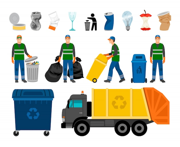Scavengery, trash and garbage colored icons Premium Vector
