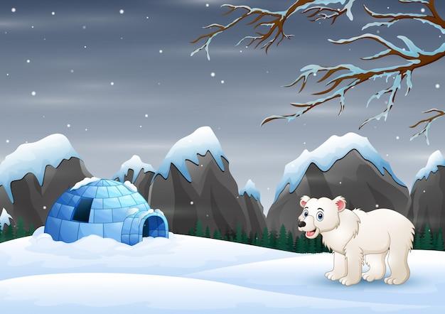 冬の風景の中のホッキョクグマとイグルーのシーン Premiumベクター