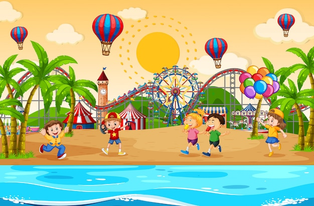 Scene background design with children at the carnival Free Vector