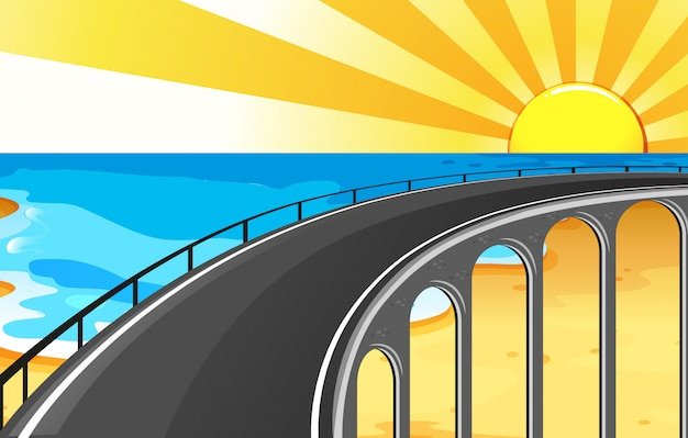 Scene background with bridge and ocean Free Vector