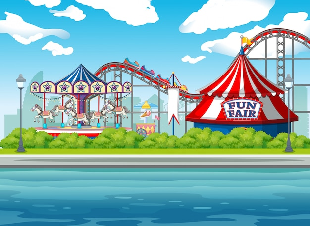 Scene background  with circus rides Free Vector