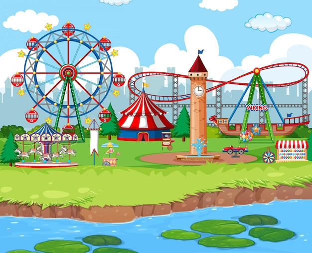 Scene background  with rides at the carnival Free Vector
