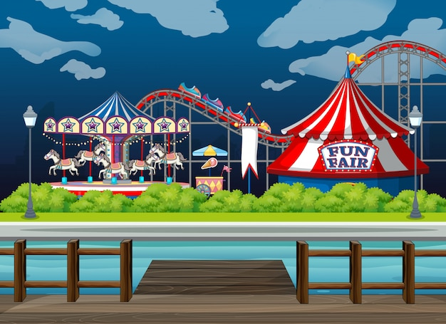 Scene background  with rides at the circus Free Vector