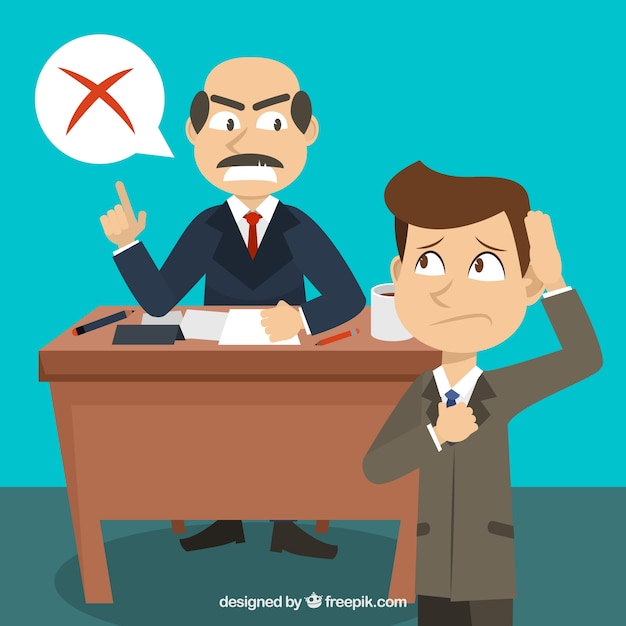 Scene of businessman with his boss Free Vector