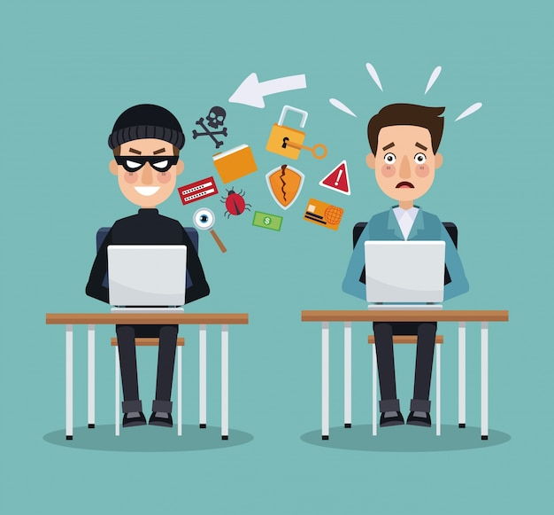 Scene color thief hacker and programmer man in desk with laptops ...