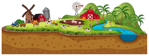 Scene of farmland with animals Premium Vector