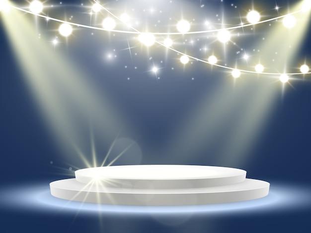 授賞式の様子。台座。フラッドライト。 。星の光の中の表彰台 Premiumベクター