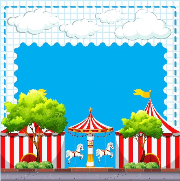 Scene from the circus at daytime Free Vector