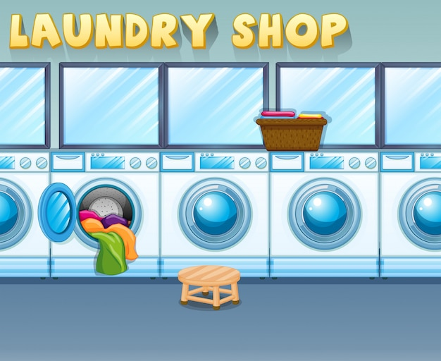 Scene in laundry shop Free Vector