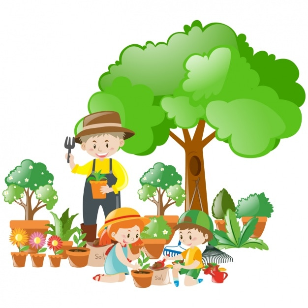 Scene of gardener and children with beautiful plants ...