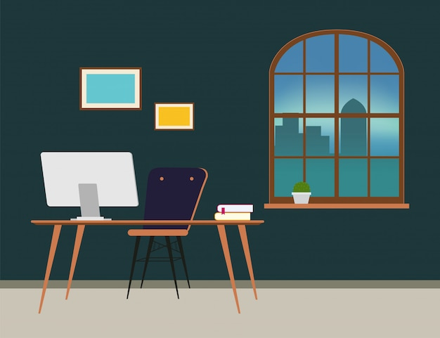 Scene of office room door corridor waiting hallway. Premium Vector
