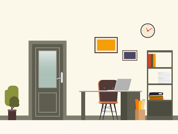 Scene of office room door and job operation place. Premium Vector