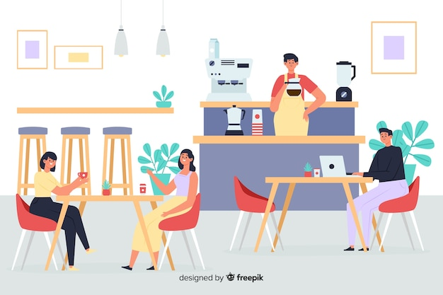 Scene of people sitting at a cafe Free Vector