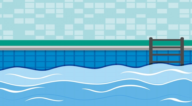 Scene of swimming pool with Free Vector