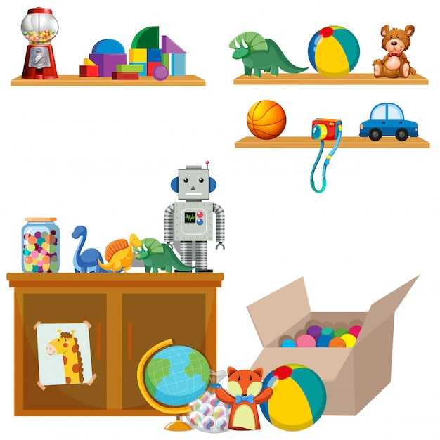 Scene of toys on shelves and cupboard Free Vector