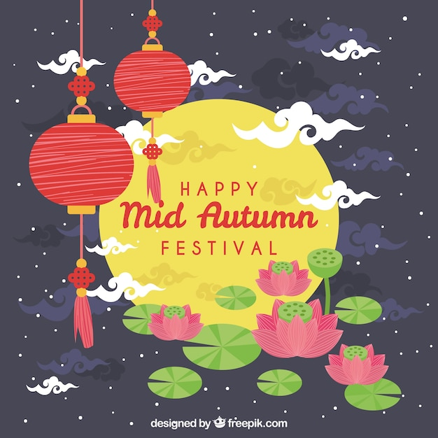 Scene with a full moon, mid autumn festival Free Vector