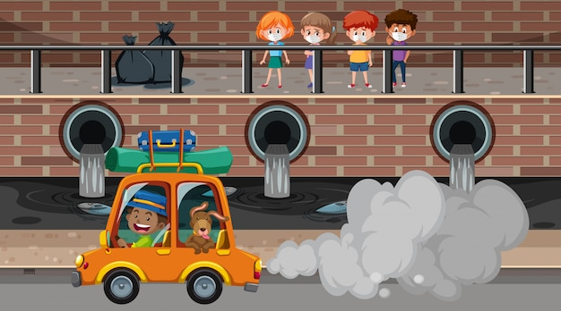 Scene with air and water pollutions in the city Premium Vector