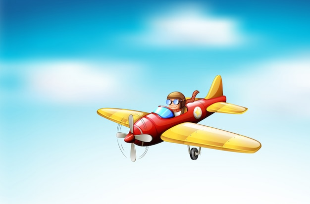 Scene with airplane flying in the sky Free Vector