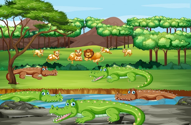 Scene with animals in the forest Free Vector
