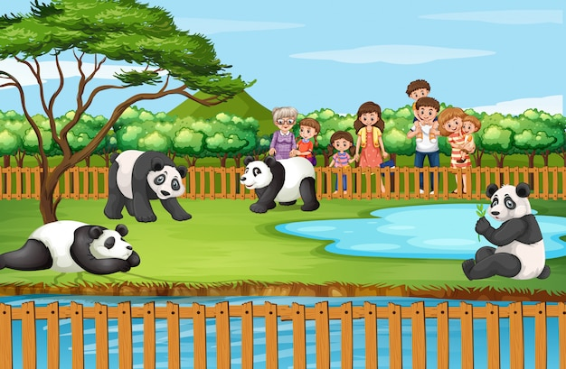 Scene with animals and people at the zoo Free Vector