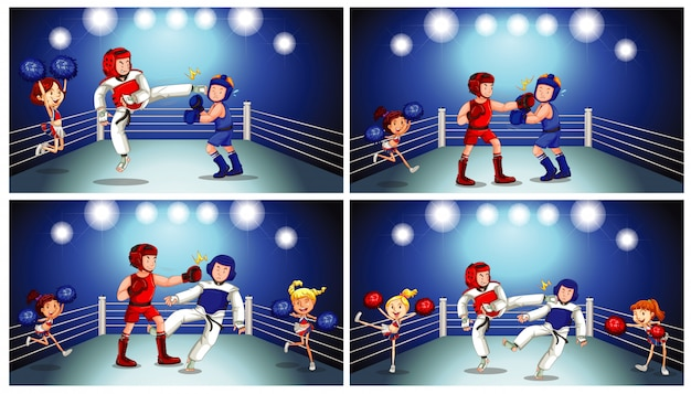 Scene with athletes fighting in the ring Free Vector