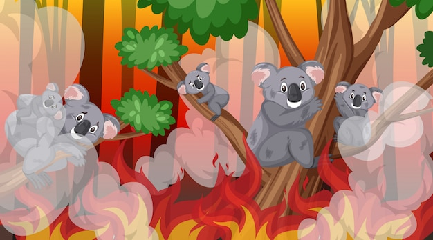 Scene with big wildfire in the forest Premium Vector