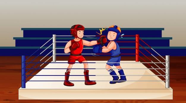 Scena con pugile in lotta sul ring Vettore gratuito