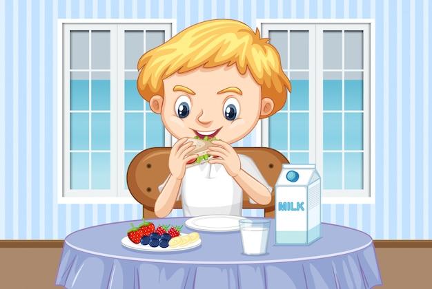 Сцена с мальчиком, который ест здоровый завтрак дома Бесплатные векторы