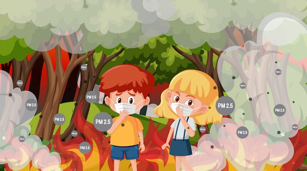 Scene with boy and girl in the big wildfire Premium Vector