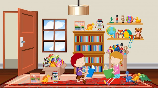 Scene with boy and girl reading in the room Free Vector