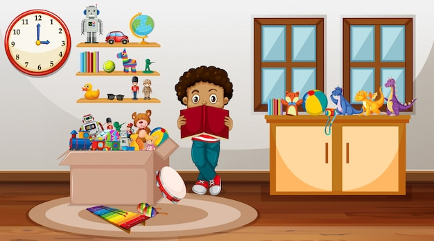 Scene with boy reading book in the room Free Vector