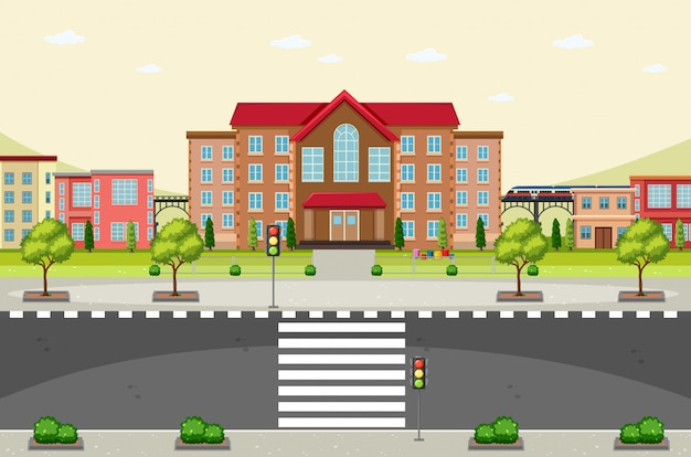 Scene with buildings and empty road Free Vector