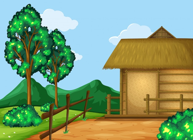 Scene with cabin in the field Free Vector