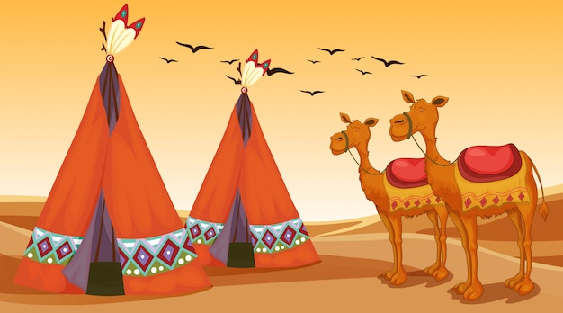 Scene with camels and teepees in the desert Free Vector