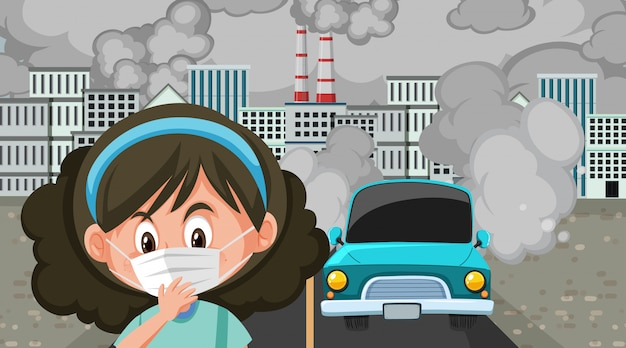 Scene with cars and factory buildings making dirty smoke in the city Premium Vector