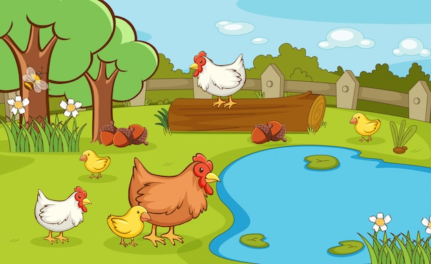 Scene with chickens in the park Free Vector