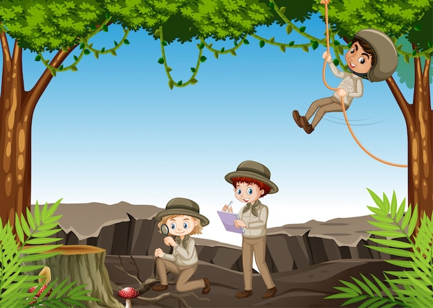 Scene with children exploring nature in the woods Free Vector