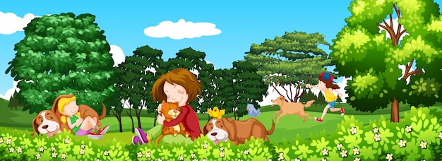 Scene with children and pet in the park Free Vector