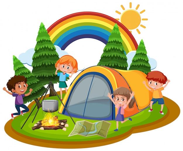 Сцена с детьми, играющими в парке в дневное время Premium векторы