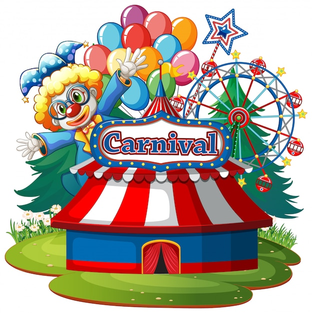 Scene with circus clown in the park on white background Free Vector