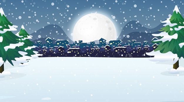 Scene with city in the snowy night Free Vector