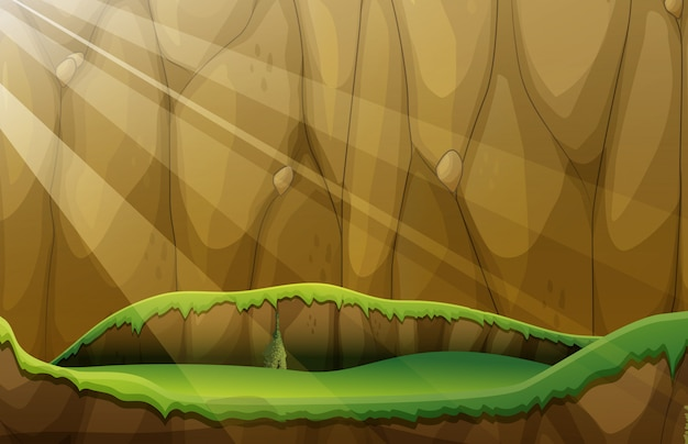Scene with cliff and plain Free Vector