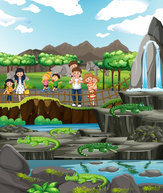 Scene with crocodiles and many children Free Vector