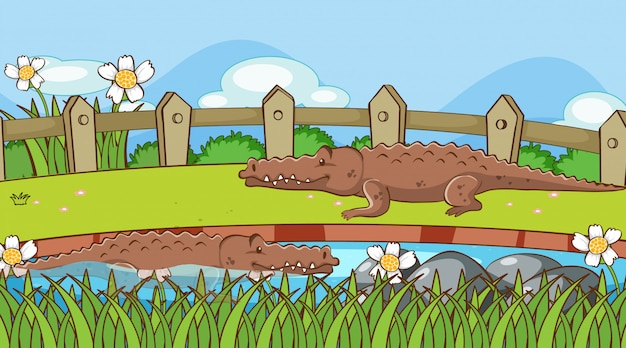 Scene with crocodiles in the park Free Vector