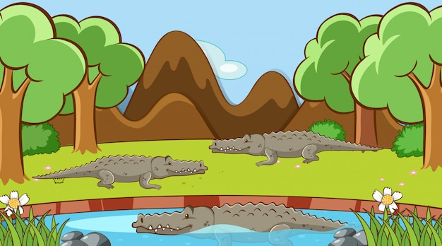 Scene with crocodiles in the pond Free Vector
