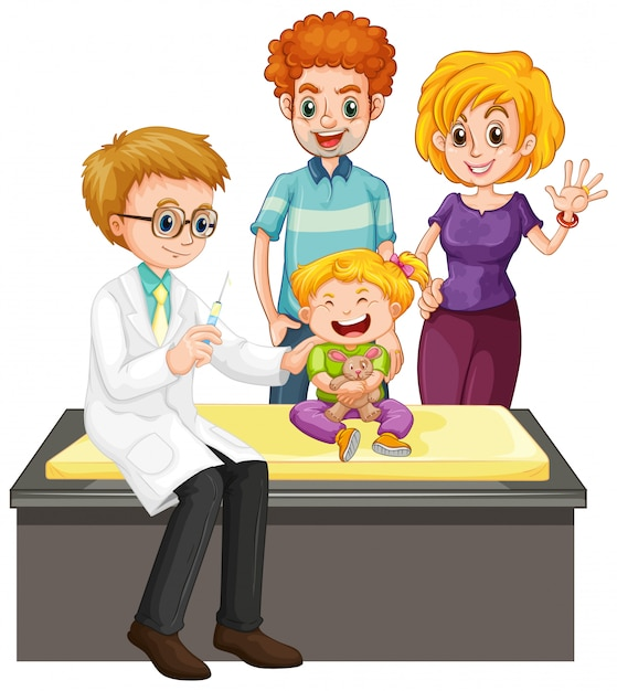 Scene with doctor and girl doing health check up Free Vector